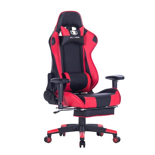 4. KILLABEE Big and Tall 350lb Massage Memory Foam Gaming Chair - Adjustable Massage Lumbar Cushion, Retractable Footrest and 2D Arms High Back Ergonomic Racing Computer Desk Leather Office Chair (Red)