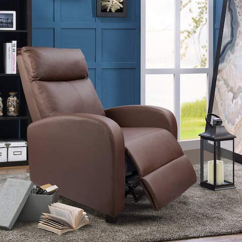 5. Devoko Adjustable Single Recliner Chair PU Leather Modern Living Room Sofa Padded Cushion Manual Home Theater Seating (Brown)