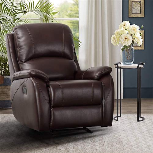 1. CANMOV Rocker Recliner Chair - Classic and Traditional Bonded Leather Single Manual Reclining Chair, 1 Seat Motion Sofa Recliner Chair with Padded Seat Back, Brown