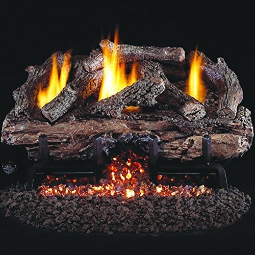 3. Peterson Real Fyre 24-inch Charred Aged Split Oak Log Set with Vent-free Propane ANSI Certified G10 Burner - Variable Flame Remote