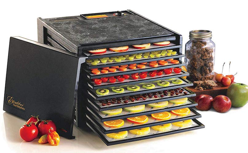 3. Excalibur 3900B 9-Tray Electric Food Dehydrator with Adjustable Thermostat Accurate Temperature Control Faster and Efficient Drying Includes Guide to Dehydration Made in USA, 9-Tray, Black