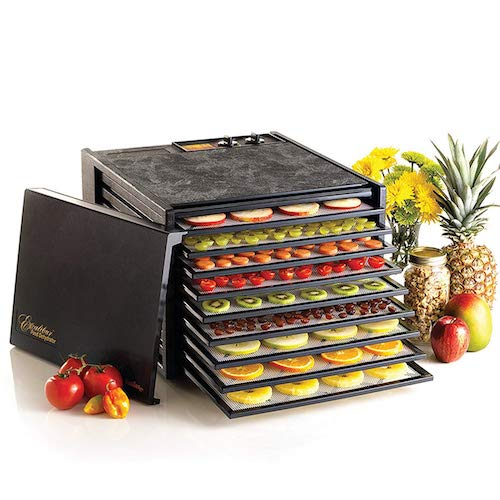 5. Excalibur 3926TB 9-Tray Electric Food Dehydrator with Temperature Settings and 26-hour Timer Automatic Shut Off for Faster and Efficient Drying Includes Guide to Dehydration Made in the USA, 9-Tray, Black