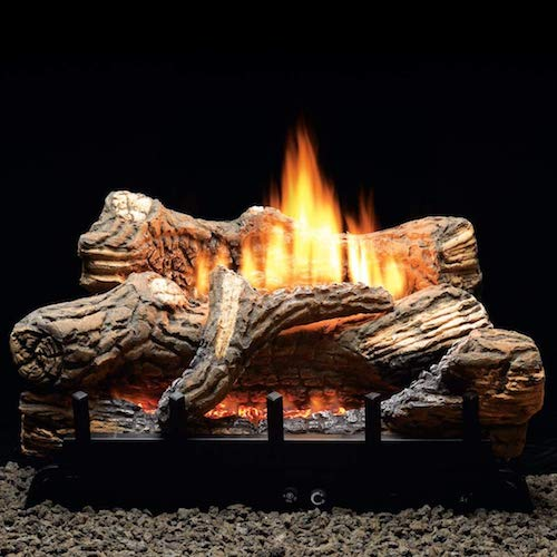 4. Thermostat 5-piece 24 inch Ceramic Fiber Log Set - Natural Gas