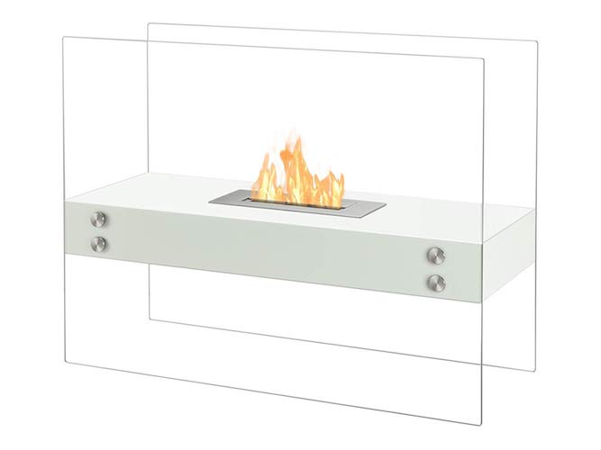3. Ignis Ventless Bio Ethanol Fireplace Vitrum H White
