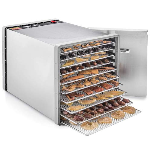 10. STX International STX-DEH-600W-SST-CB Stainless Steel Dehydrator 10 Tray Food and Jerky Dehydrator with 40 Hour Timer PLUS a FREE All New Dehydrating Made Easy Cookbook on CD with over 270 Recipes!
