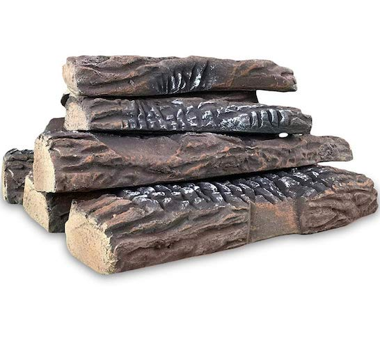 3. Regal Flame 10 Piece Set of Ceramic Wood Large Gas Fireplace Logs