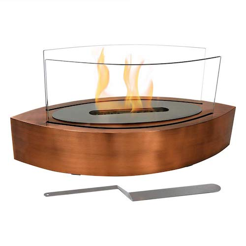 1. Sunnydaze Barco Tabletop Fireplace, Indoor Ventless Bio Ethanol Fire Pit, Long Lasting Burn Time, Copper