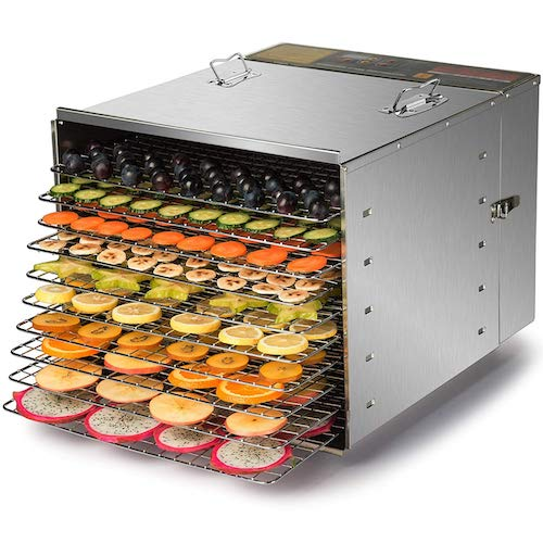4. CO-Z Commercial Grade Stainless Steel Electric Food Dehydrator Machine, Meat or Beef Jerky Maker, Fruit Dryer with 10 Trays, 155 Degree Fahrenheit, Jerky Safe with 15 Hour Timer, 1000W