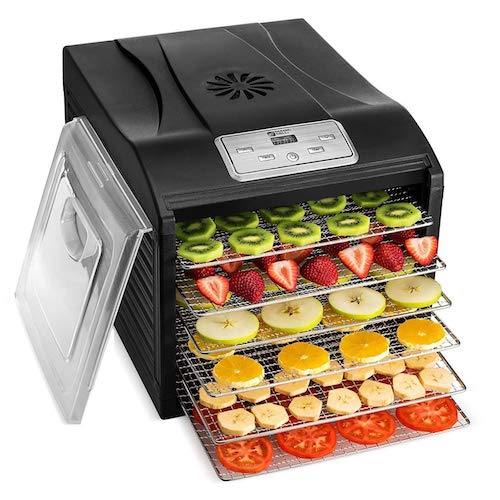 1. MAGIC MILL Professional Food Dehydrator Machine, 6 Stainless Steel Drying Racks, Multi-Tier Food Preserver, Digital Control BUNDLE BONUS 2 Fruit Leather Trays, 1 Fine Mesh Sheets, 1 Set Ovens Mitts