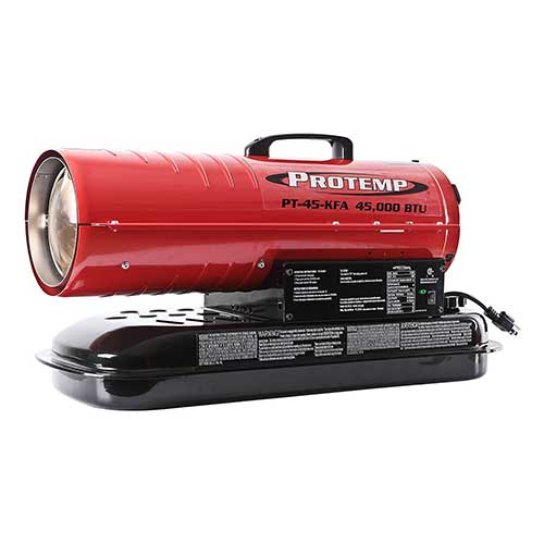 Best Portable Kerosene Heaters 3. Pro-Temp 45,000 BTU Kerosene/Diesel Forced Air Torpedo Heater