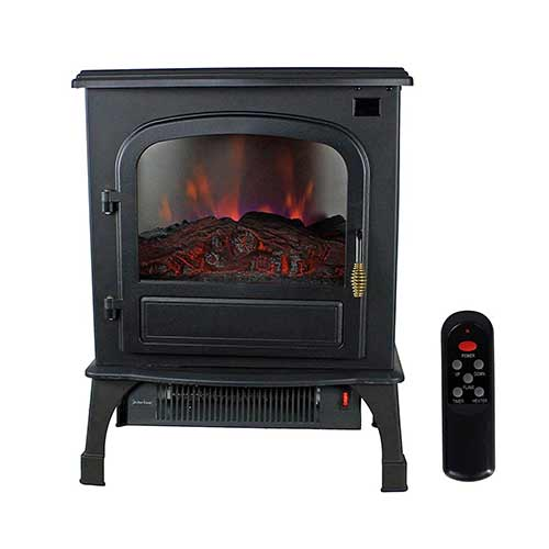 Best Space Heaters for Large Room with High Ceilings 7. Warm Living 1500W Electric Infrared Deluxe Home Stove Fireplace Heater