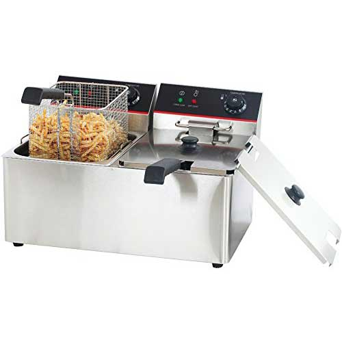 Best Commercial Deep Fryers 10. Hakka 8Lx2 Commercial Stainless Steel Deep Fryers Electric Professional Restaurant Grade Turkey Fryers (TEF-8L-2)