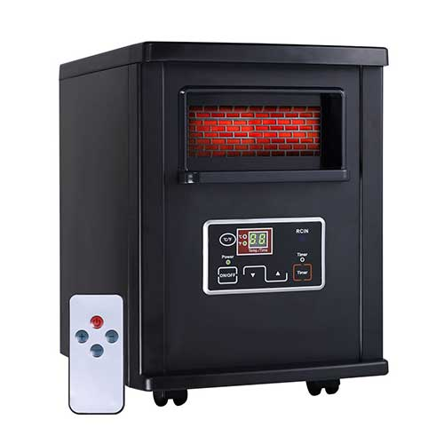 Best Space Heaters for Large Drafty Room 5. Apontus 1800 Sq. Ft Electric Portable Infrared Quartz Space Heater Remote Black