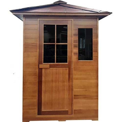 Best Barrel Saunas 8. Canadian Red Cedar 3 Person Outdoor Backyard Sauna, FIR Far Infrared Spa