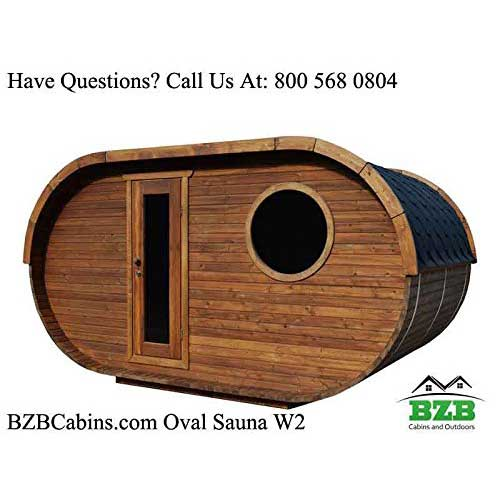 Best Barrel Saunas 5. BZBCabins.com Oval Sauna Kit W2, 8 Person Outdoor Sauna with Harvia M3 Wood Burning Heater