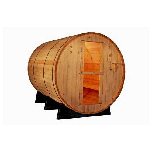 Best Barrel Saunas​​ 1. Canadian Red Cedar Wood 6' Foot Outdoor Barrel Sauna, four people, with 6KW Wet or Dry Heater and Lava Rocks