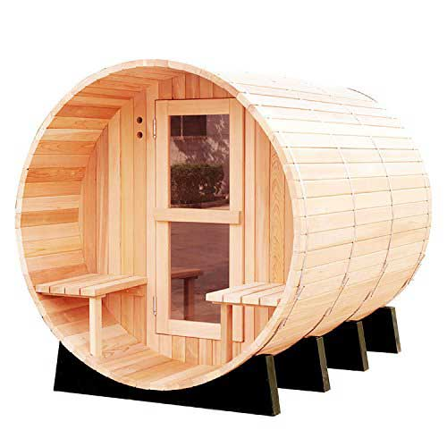 Best Barrel Saunas 3. RGX 4-6 Persons Traditional Hemlock Wooden Barrel Sauna Made with Harvia Sauna Electrical Heater and Sauna Stove
