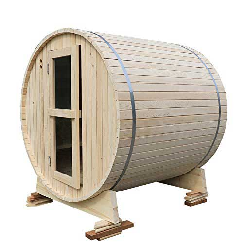 Best Barrel Saunas 7. RGX 4 Persons Traditional Indoor and Outdoor Hemlock Dry Wet Wooden Barrel Sauna Room Equipped with Harvia Sauna Electrical Heater and Sauna Stove