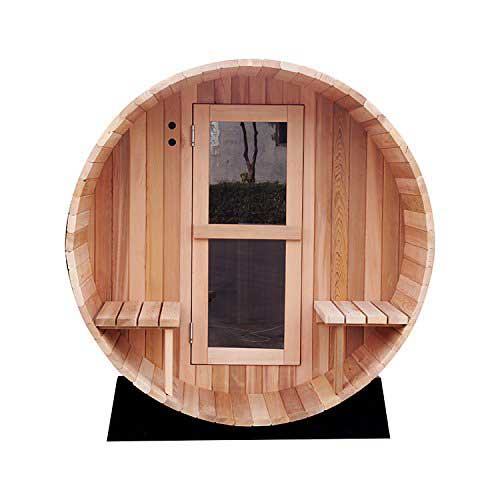 Best Barrel Saunas 9. RDX 4-6 Persons Hemlock Wooden Barrel Sauna Made with Harvia Sauna Electrical Heater and Sauna Stove