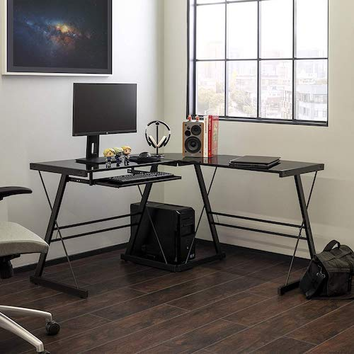 2. Walker Edison Modern Corner L Shaped Glass Computer Writing Gaming Gamer Command Center Workstation Desk
