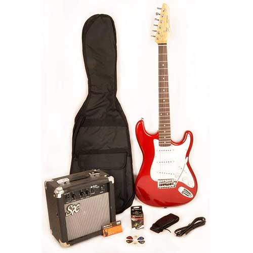 Best Beginner Electric Guitars 4. SX RST 3/4 CAR Short Scale Red Electric Guitar Package