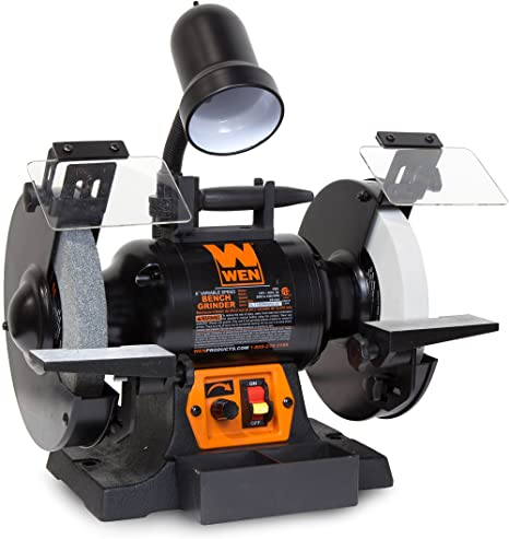 7. WEN 4280 5-Amp 8-Inch Variable Speed Bench Grinder with Work Light