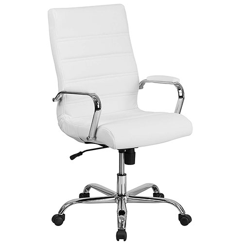 Best Office Desk Chairs Under 100 5. Flash Furniture High Back White Leather Executive Swivel Chair