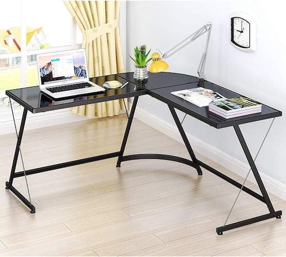 4. SHW L-Shape Corner Desk Computer Gaming Desk Table, Black