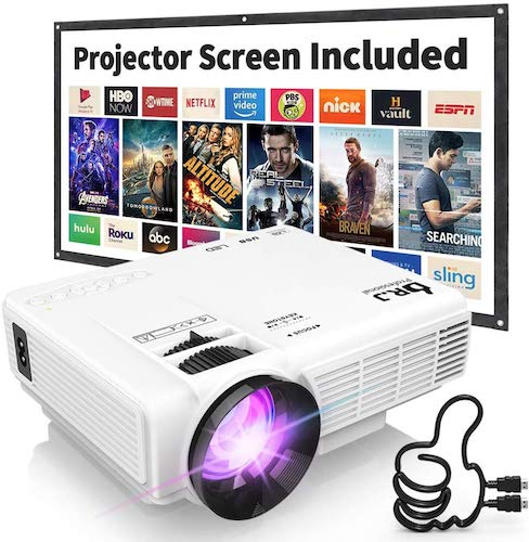 2. DR. J Professional HI-04 1080P Supported Portable Movie Projector