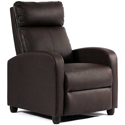 2. FDW Recliner Chair Single Reclining Sofa Leather Chair Home Theater Seating Living Room Lounge Chaise (Brown)