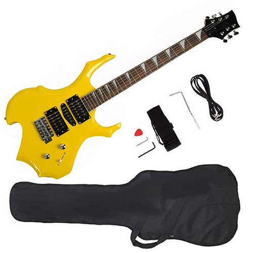 Best Beginner Electric Guitars 10. Glarry Cool Burning Fire Style Electric Guitar Christmas gift for Beginner Guitar Lover