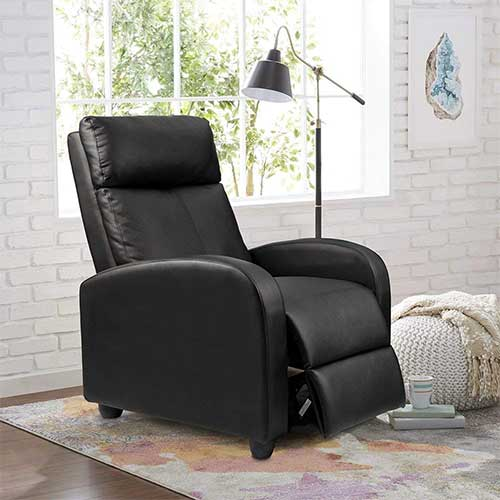 1. Homall Single Recliner Chair Padded Seat PU Leather Living Room Sofa Recliner Modern Recliner Seat Club Chair Home Theater Seating (Black)