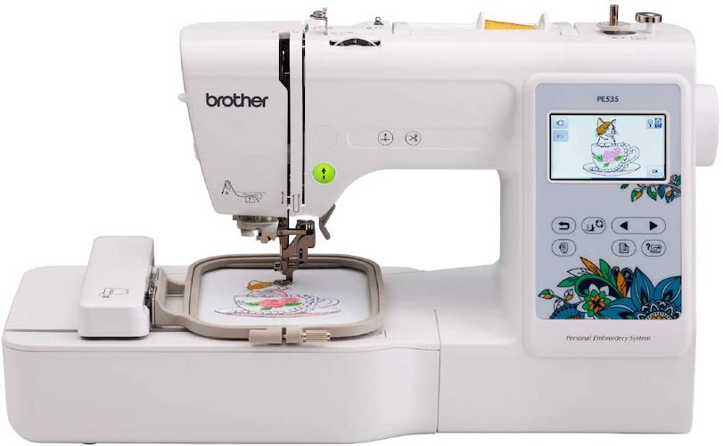 6. Brother Machine, PE535, 80 Built Designs 9 Font Styles, 4 x 4 Embroidery Area, Large 3.2 LCD Touchscreen, USB Port