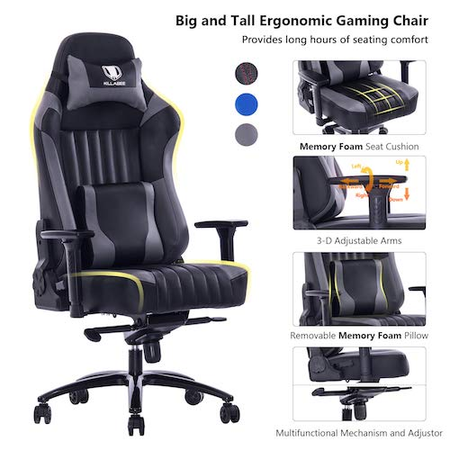 7. KILLABEE Big and Tall 400lb Memory Foam Gaming Chair - Executive Computer Desk Office Chair Metal Base, Grey
