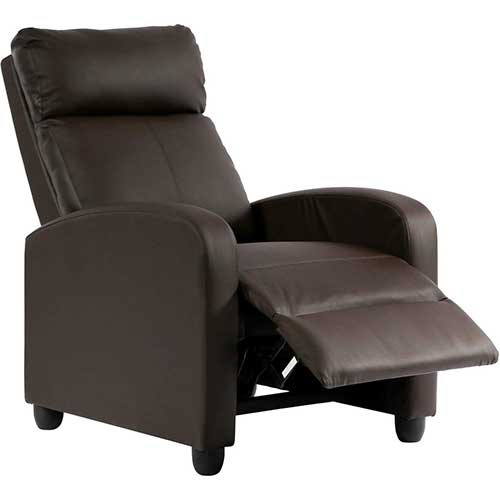 4. Recliner Chair for Living Room Home Theater Seating Single Reclining Sofa Lounge (Brown)
