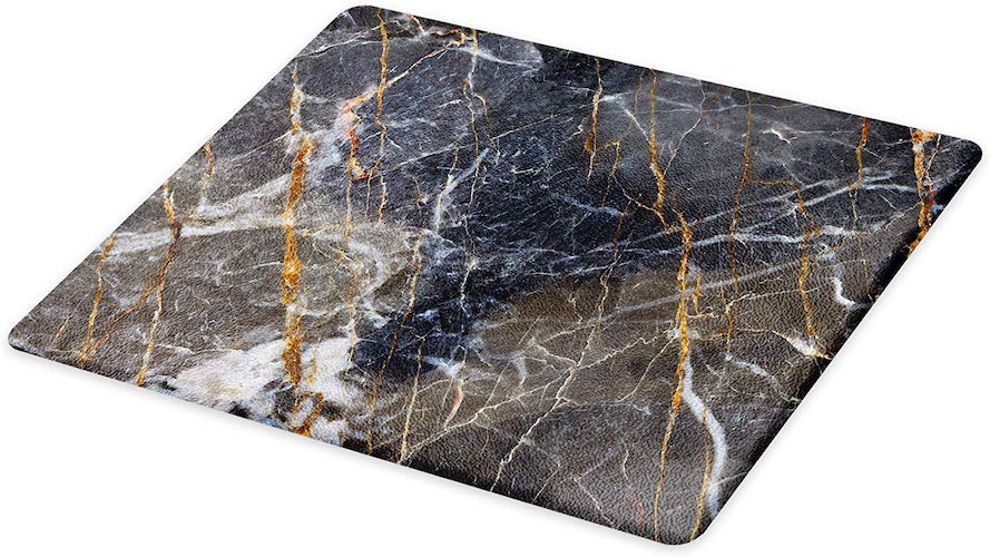 4. Lunarable Marble Cutting Board, Abstract Medieval Style Architecture Ceramic Textured Facet Design