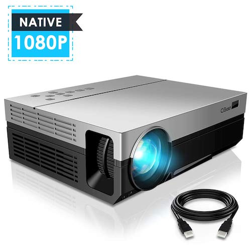 9. 1080P Projector, CiBest Upgraded Native 1080P 3600 Lux Projector HD Video Movie LED Projector