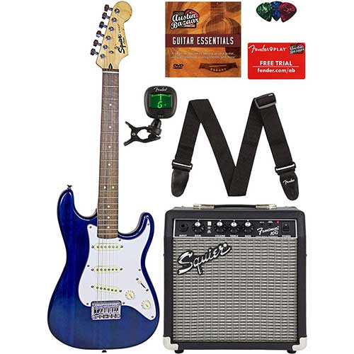 Best Beginner Electric Guitars 1. Squier by Fender Short Scale Stratocaster - Transparent Blue Bundle