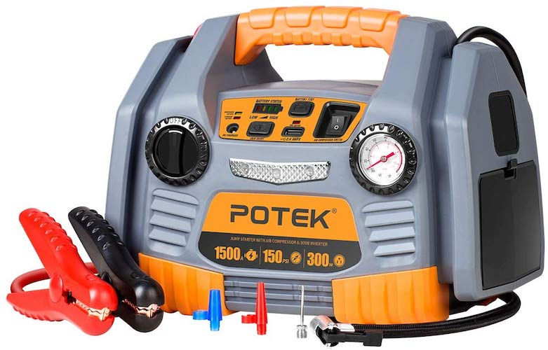 9. POTEK Portable Power Source: 1500 Peak/ 750 Instant Amps Jump Starter