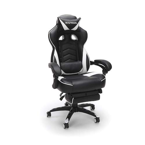 9. RESPAWN RESPAWN-110 Racing Style Reclining Ergonomic Leather Footrest, Office or Gaming Chair (RSP-110-WHT), White
