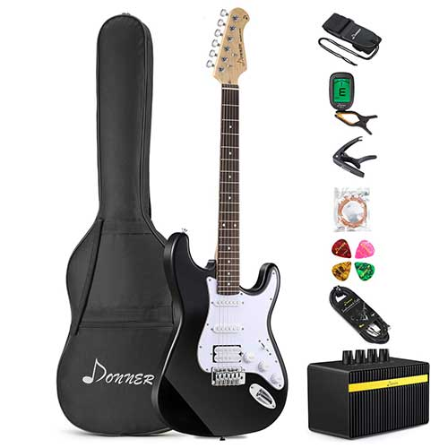 Best Beginner Electric Guitars 3. Donner DST-1B Full-Size 39 Inch Electric Guitar Black