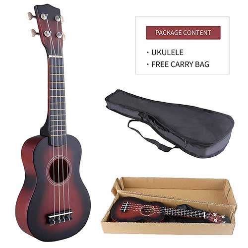 Best Beginner Electric Guitars 9. LAGRIMA Ukulele 21Inch Soprano Acoustic Mini Guitar Musical Instrument