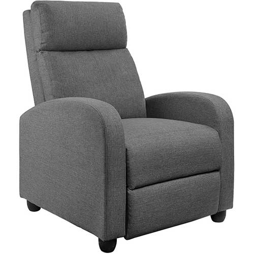 3. JUMMICO Fabric Recliner Chair Adjustable Home Theater Single Recliner Sofa Furniture with Thick Seat Cushion and Backrest Modern Living Room Recliners (Grey)