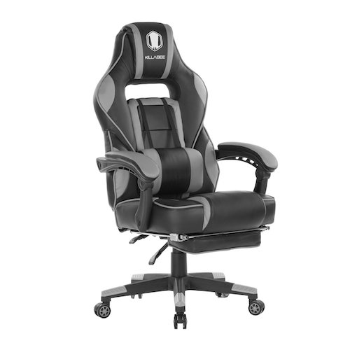 This gaming chair is packed with top notch features in an ergonomic design to provide comfort and luxury to the user. The padded footrest and the wide 2-D arms are adjustable. Recline at 90 to 155 degrees with tilt locking mechanism further enhance comfort. As well, the chair can rotate at 360 degrees. You can also adjust the massage lumbar cushion and the headrest pillow. In addition, the chair is made from high quality materials to offer maximum comfort and durability. 1. KILLABEE Reclining Memory Foam Racing Gaming Chair - Ergonomic High-Back Racing Computer Desk Office Chair
