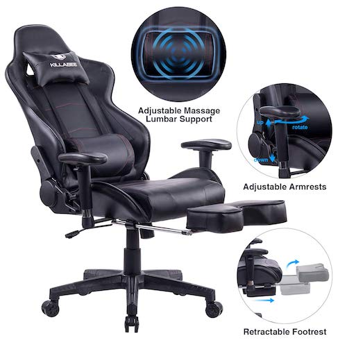 2. KILLABEE Big and Tall 350lb Massage Memory Foam Gaming Chair