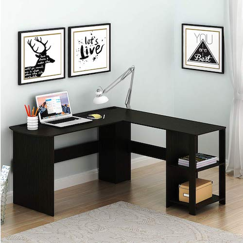 3. SHW L-Shaped Home Office Wood Corner Desk, Espresso