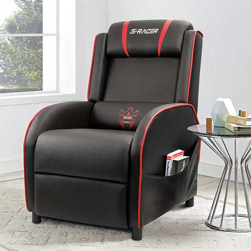 8. Homall Gaming Recliner Chair Single Living Room Sofa Recliner PU Leather Recliner Seat Home Theater Seating (Red)