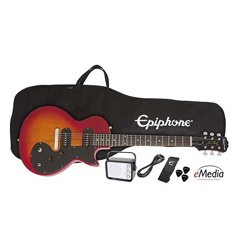 Best Beginner Electric Guitars 8. Epiphone Les Paul SL Starter Pack, Heritage Cherry Sunburst