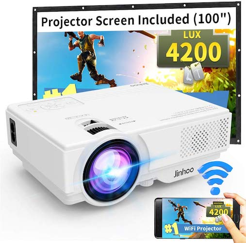 5. WiFi Mini Projector, Jinhoo 2020 Latest Update 4200 Lux [100