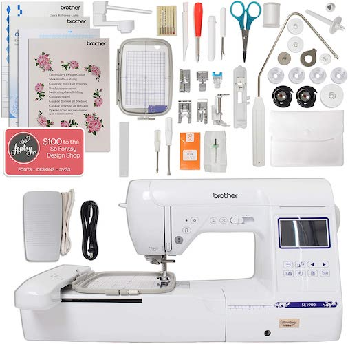3. Brother SE1900 Combination Sewing and Embroidery Machine Bundle with 5x7 Embroidery Field and Large Color Touch LCD screen